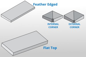 flat feathered precast concrete wall caps