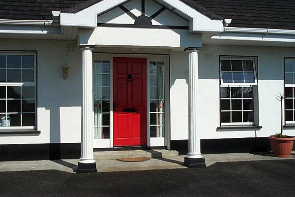 Pillars at bungalow front door