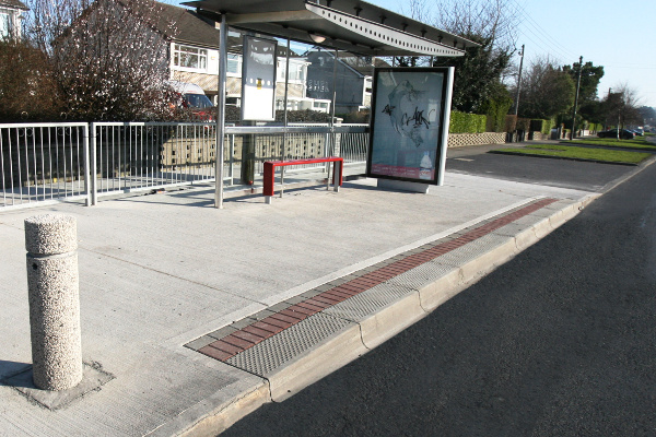 Bus stop kerb installation