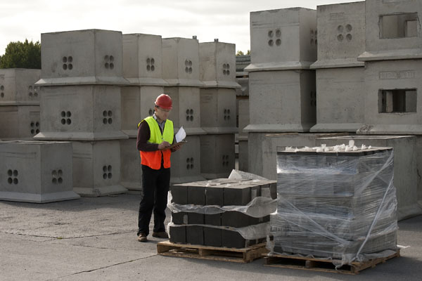 Jonathan Geraghty inspects the initial Sleeping Policemen blocks off our production lines