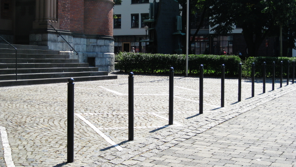 black coloured steel bollards