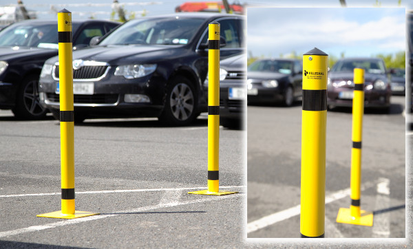 yellow coloured steel bollards